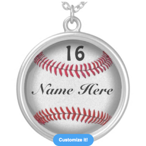 Softball Necklace with NUMBER
